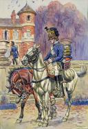 BÉNIGNI PIERRE : AQUARELLE ORIGINALE, 1er RÉGIMENT DE CHASSEURS À CHEVAL 1779, TAMBOUR EN TENUE DE ROUTE, DÉBUT XXème SIÈCLE.