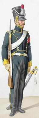 Photo 2 : 1818. Chasseurs à Cheval. Chasseur (5e Régiment - du Cantal), Lieutenant en Second (21e Régiment - de Vaucluse).