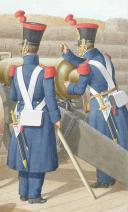 Photo 2 : 1824. Artillerie à Pied. Sous-Lieutenant, Sergent, Canonniers.