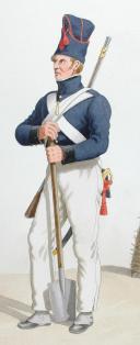 1816-1820. Génie. Sergent de Mineurs, Mineur en tenue de tranchée. (2)