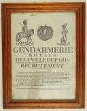 Photo 1 : AFFICHE DE RECRUTEMENT DE LA GENDARMERIE ROYALE DE LA VILLE DE PARIS, 1816.