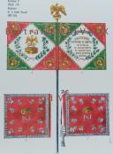 RIGO (ALBERT RIGONDAUD) : LE PLUMET PLANCHE D17 : DRAPEAUX ÉTENDARDS ROYAUME D'ITALIE (IV) GARDE ROYALE 1805-1814