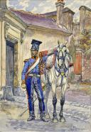 BÉNIGNI PIERRE : AQUARELLE ORIGINALE, 2ème RÉGIMENT DE CHEVAU-LÉGERS LANCIERS DE LA GARDE, LANCIERS ROUGES 1810, TROMPETTE TENUE DE ROUTE EN KURTKA, DÉBUT XXème SIÈCLE. (1)
