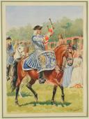 Photo 1 : ROUSSELOT LUCIEN - AQUARELLE ORIGINALE , TIMBALIER DES GARDES DU CORPS DU ROI EN GRANDE TENUE, ANCIENNE MONARCHIE.