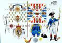 RIGO (ALBERT RIGONDAUD) : LE PLUMET PLANCHE AR50 : INFANTERIE REGIMENT ALLEMAND ROYAL-DEUX-PONTS DRAPEAUX - 1780-1781.