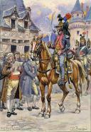BÉNIGNI PIERRE : AQUARELLE ORIGINALE,18ème DRAGONS 1796, OFFICIER TENUE DE CAMPAGNE, DÉBUT XXème SIÈCLE.