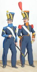 1828. Infanterie de Ligne. Tambour-Major, Caporal-Fourrier du Centre (23è Régiment). Sergent-Major de Grenadiers (50è Régiment) (2)