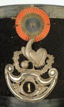 Photo 2 : SHAKO D'OFFICIER DE CHASSEUR DU 1er BATAILLON DE LA GARDE NATIONALE, type 1830, Monarchie de Juillet.