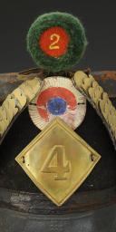 Photo 2 : SHAKO DU 4ème RÉGIMENT D'INFANTERIE DE LIGNE, modèle 1810, Premier Empire.