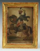 GARDE D'HONNEUR À CHEVAL : Gravure aquarellée, Premier Empire.
