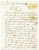 Photo 4 : 2 LETTRES DE ANDRÉ CÉCILLON, canonnier dans la 15ème compagnie du 1er régiment d'artillerie à pied, à MONSIEUR DE CHABON, demeurant à la Tour du Pin (Isère), datée Isle de Cazen le 14 janvier 1808 et de l'hôpital de Gand le 20 avril 1808.