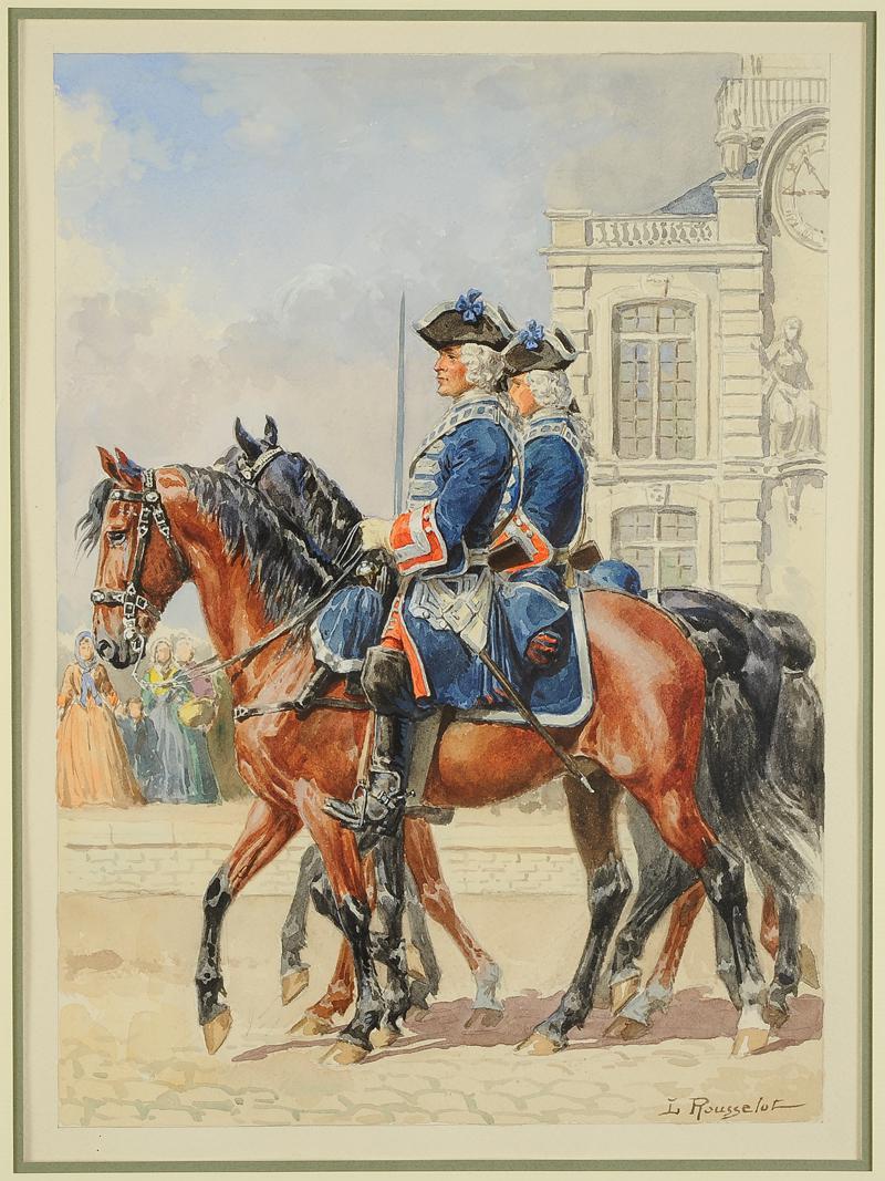 Rousselot lucien aquarelle originale gardes du corps for Ancienne maison des gardes lourmarin france
