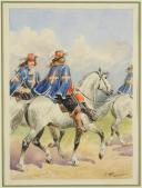 Photo 1 : ROUSSELOT LUCIEN - AQUARELLE ORIGINALE , MOUSQUETAIRES DE LA 1ère COMPAGNIE, MAISON MILITAIRE DU ROI, ANCIENNE MONARCHIE.