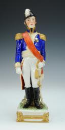 Photo 1 : BERTRAND, GÉNÉRAL D'EMPIRE, FIGURINE EN PORCELAINE DE COURILLE À PARIS, 20ème SIÈCLE.
