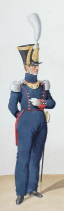 Photo 2 : 1828. Artillerie à Pied. Adjudant-Major, Adjudant Sous-Officier, Tambour-Major.