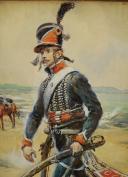 Photo 3 : LALAUZE ALPHONSE : CHASSEUR À CHEVAL DU 1er RÉGIMENT, 1796, Révolution.