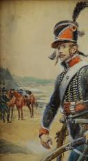 Photo 4 : LALAUZE ALPHONSE : CHASSEUR À CHEVAL DU 1er RÉGIMENT, 1796, Révolution.