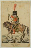 MARTINET, OFFICIER AU 6ème RÉGIMENT DE HUSSARDS COMPAGNIE D'ÉLITE : Gravure, Premier Empire.