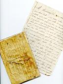 CARNET DU SOLDAT D'ARTILLERIE DE MARINE HYACINTHE LEROUX, CALLIGRAPHIÉ ET ORNÉ DE NOMBREUX DESSINS D'EMBLÈMES MILITAIRES ET IMPÉRIAUX (1813-1814) et une lettre à sa tante MARIE CUVELIER, résidant à Dieppe, le 30 août 1814.
