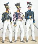 Photo 2 : 1822. Chasseurs à Cheval. Maréchal-Ferrant, Brigadier-Trompette (21e Régiment - de Vaucluse), Chasseur (16e Régiment - de l'Orne).