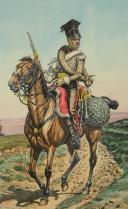 Photo 3 : BENIGNI PIERRE, CHEVAU-LÉGER du duché de Berg du temps de Murat (1807 - 1808), Campagne d'Espagne 1808 en tenue de campagne : Gouache originale, Premier Empire.
