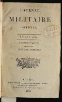 Photo 1 : JOURNAL MILITAIRE OFFICIEL PREMIÈRE PARTIE DEUXIÈME SEMESTRE 1836