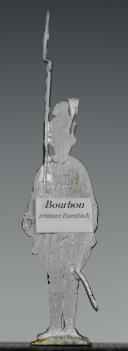 """FIGURINE DEMI-RONDE BOSSE D'UN SOLDAT DU RÉGIMENT """"BOURBON"""".  (2)"""