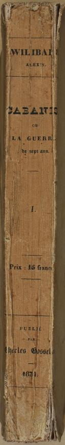 """WILIBALD (Alexis) - """" Cabanis, ou la Guerre de Sept ans """" - 1 Tome - Paris - 1831 (6)"""