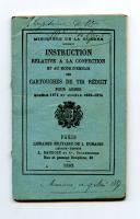 INSTRUCTION RELATIVE A LA CONFECTION ET AU MODE D'EMPLOI DES CARTOUCHES DE TIR RÉDUIT.