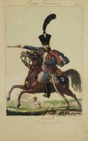 MARTINET, HUSSARD DU 3ème RÉGIMENT À CHEVAL : Gravure, Premier Empire.