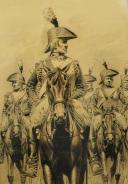 GAMBEY I., ESCADRON DE CUIRASSIERS RÉVOLUTIONNAIRES : Dessin à la plume, Révolution.