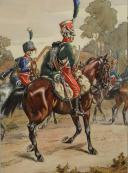 Photo 1 : VICTOR HUEN, AQUARELLE D'UN GARDE D'HONNEUR DU 2eme REGIMENT ET TROMPETTE DU 4eme REGIMENT DES GARDES D'HONNEUR.