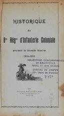 """Photo 2 :  BRUNON - """" Historique du 8ème Régiment d'Infanterie coloniale """"  - (1914 -1919 ) - Toulon - 1920"""