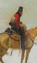 GEORGES SCOTT : GOUACHE ORIGINALE SUR CARTON - HUSSARD DU 4ème RÉGIMENT DE HUSSARDS DANS LA NEIGE, RÉVOLUTION - EMPIRE. (4)