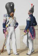 Photo 2 : 1830. Garde Royale. Infanterie (2e Régiment). Sergent de Fusiliers, Caporal-Sapeur, Sergent-Major de grenadiers.