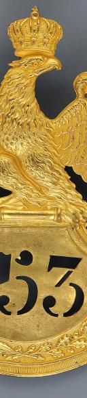 Photo 2 : PLAQUE DE SHAKO D'OFFICIER DE FUSILIERS DU 153ème RÉGIMENT D'INFANTERIE DE LIGNE, MODÈLE 1812, PREMIER EMPIRE.