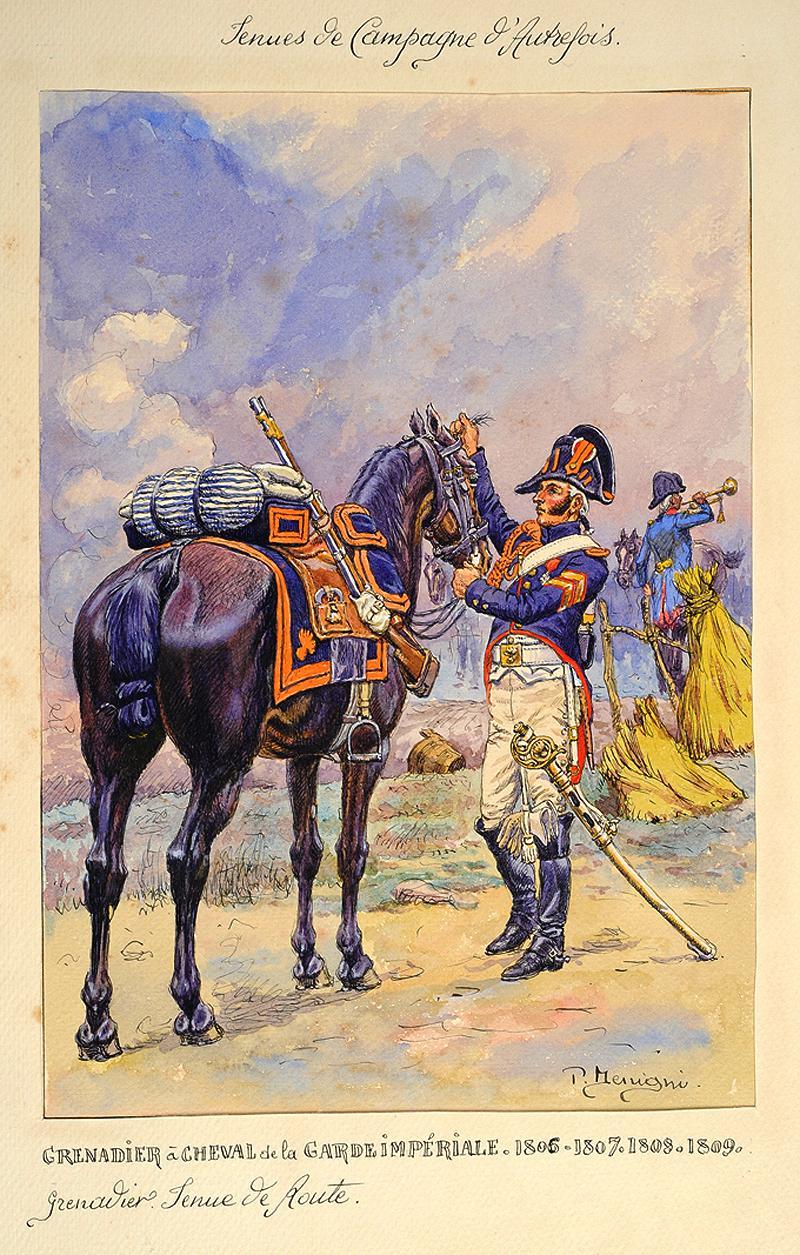 grenadier en tenue de route des grenadiers cheval de la garde imp riale 1806 1809. Black Bedroom Furniture Sets. Home Design Ideas