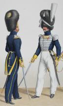 Photo 2 : 1830. Garde Royale. Infanterie (3e Régiment). Officier de grenadiers, Officiers de Voltigeurs, Clairon de Voltigeurs.