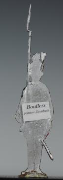 """Photo 2 : FIGURINE DEMI-RONDE BOSSE DRAGON 1786 DU RÉGIMENT """"BOUFLERS""""."""