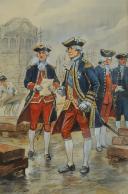 Photo 3 : TOUSSAINT MAURICE  (1882-1974) : OFFICIERS DE MARINE, RÈGNE DE LOUIS XVI, GOUACHE ORIGINALE AYANT ÉTÉ PUBLIÉE DANS L'OUVRAGE « Les Equipages de la Marine Française » 1943.