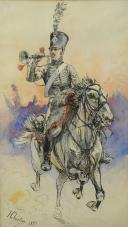 Photo 1 : CHARTIER  Henri Georges (1859-1924) : TROMPETTE D'UN RÉGIMENT DE CHASSEUR À CHEVAL PREMIER EMPIRE.
