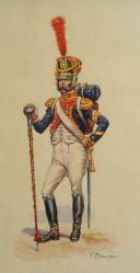BENIGNI PIERRE, TAMBOUR-MAJOR D'INFANTERIE : Dessin gouaché, Premier Empire.