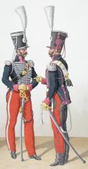 Photo 2 : 1824. Chasseurs à Cheval. Trompette, Chef d'Escadron, Adjudant Sous-Officier (19e Régiment - de la somme).