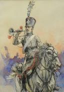 Photo 3 : CHARTIER  Henri Georges (1859-1924) : TROMPETTE D'UN RÉGIMENT DE CHASSEUR À CHEVAL PREMIER EMPIRE.