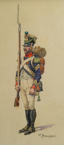BENIGNI PIERRE, SERGENT-MAJOR TIRAILLEUR DE CHASSEURS DE LA JEUNE GARDE : Dessin gouaché, Premier Empire.