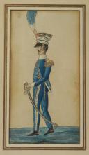 ROYAUME DE NAPLES ET DES DEUX SICILES : RÉUNION DE TROIS GOUACHES REPRÉSENTANT DES OFFICIERS DE L'ARMÉE NAPOLITAINE, 1805-1814, PREMIER EMPIRE. (3)