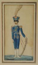 ROYAUME DE NAPLES ET DES DEUX SICILES : RÉUNION DE TROIS GOUACHES REPRÉSENTANT DES OFFICIERS DE L'ARMÉE NAPOLITAINE, 1805-1814, PREMIER EMPIRE. (4)