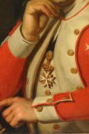 HUILE SUR TOILE, DE Dominique Ferdinand Marie LEFEVRE de LATTRE D'HEILLYE, SEIGNEUR DE LIGNY, LIEUTENANT-COLONEL DES GARDES WALLONNES DU ROI, COMMANDEUR DE L'ORDRE DE MALTE, LOUIX XVI. (6)