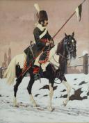 V. HUEN, COSAQUE RUSSE À CHEVAL : Peinture sur papier, Premier tiers du 19ème siècle.