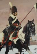 Photo 2 : V. HUEN, COSAQUE RUSSE À CHEVAL : Peinture sur papier, Premier tiers du 19ème siècle.